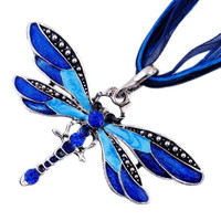 Lady Dragonfly Necklace Sweater Collar Charms  Retro Chain Rhinestone Pendant Jewelry