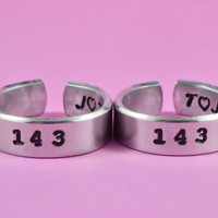 143 Couples Ring Set, Hand Stamped Aluminum Band Rings, Forever Love, Friendship