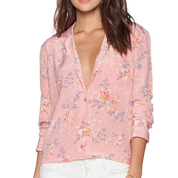 Equipment Keira Subtle Floral Print Blouse in Pink