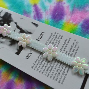Iridescent Daisy Headband Pastel Blue White Kawaii 90s Opal Adjustable Baby Blue Small Flowers Psychedelic Trippy Puffy Accessories 1990s