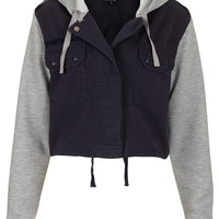 Jersey Sleeved Hood Crop Jacket - Festival Shop - Collections - Topshop USA