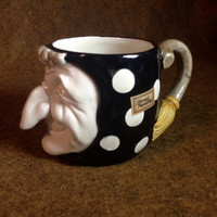 Fitz & Floyd Halloween Witch Coffee Mug - Hand Painted 1979 Collectible Black with White Polka Dots