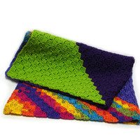 Baby blanket, crocheted blanket, rainbow colors purple and green, vegan friendly warm blanket, baby shower gift idea