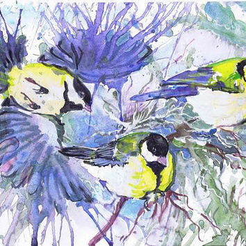 Titmouses ,Watercolor painting, watercolor bird painting, bird art, animal illustration, bird print ,kids room decor
