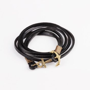 Unlimited Anchor New Retro Metal Buckle Leather Bracelet Friendship BK
