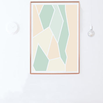 Printable Poster / Instant Download / Mint Green and Pastel Pink Wall Decor Print /