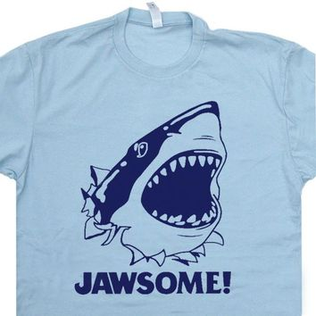 Jawsome T Shirt Jaws Shark T Shirt Funny Tee Shirt Saying Cool Movie Shirt