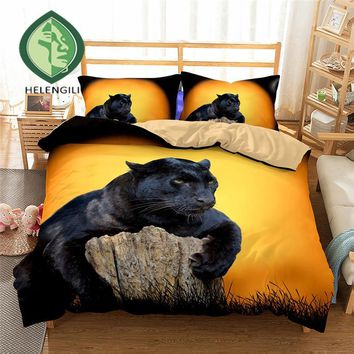 Cool 3D Bedding Set black Leopard tree Print Duvet cover set Twin queen king bedclothes with pillowcases bed set home Textiles #2AT_93_12