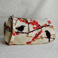 Pleated Wristlet Zipper Pouch Sparrows in Bark by lireca on Etsy