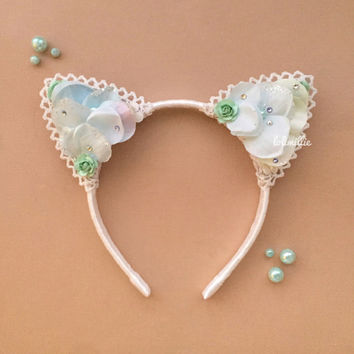 Marina | Swarovski Floral Cat Ears | Teal Mint Kawaii Nekomimi Headband | by LoliMillie