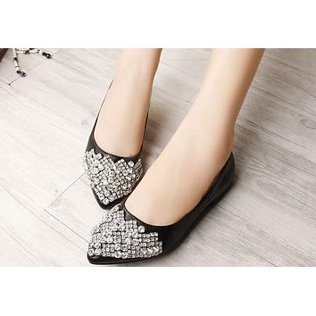 Flats Shoes For Women Ballet Princess Crystal Rhinestone Women Flats