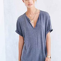Coincidence & Chance Split-Neck Henley Tee- Grey