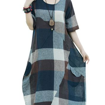 Casual Loose Patchwork Plaid O-Neck Short Sleeve Mid-Calf Women Dresses