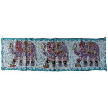 """54"""" Indian Blue Elephant Patchwork Cotton Runner Wall Hanging Tapestry Ethnic Decorative Art"""
