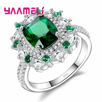 YAAMELI Brand Green Stone Classic Round Crystal 925 Sterling Silver Ring For Lady Personality With Clothes Woman Jewelry Ring