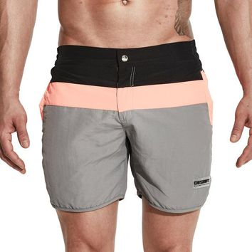 Beach shorts mens swimming trunks mesh liner board short nylon elastic waist swimwear men
