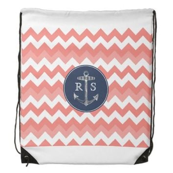 Anchor Coral Chevron Navy Monogram String Backpack