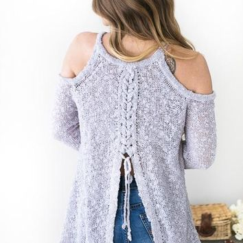 Ella Pastel Purple Lace Up Back Sweater