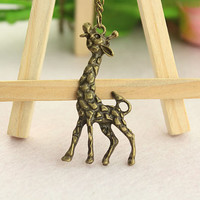 necklace--giraffe necklace,antique bronze charm bracelet,love jewelry,alloy chain