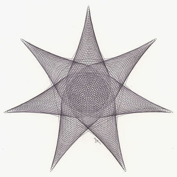 Black Star Original Ink Drawing, Geometric Abstract artwork, 7 Point Star Line Drawing, Black Ink, 12x12