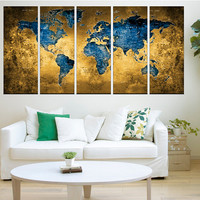 Large world map, blue world map Push pin wall art canvas print, extra large wall art, blue and brown abstract wall art, No:Hr10