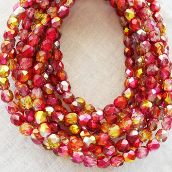 Lot of 25 6mm multicolored fuchsia pink and gold Czech glass beads, dual coated firepolished, faceted round beads C0625