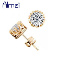 Almei Crown Gold Plated Earrings Women Brincos De Prata Men Cubic Zircon Silver White Crystal Brincos Jewerly Stud Earings Y048