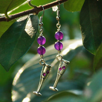 Champagne flute charm earrings with purple beading, tibetan silver with inlaid rhinestones