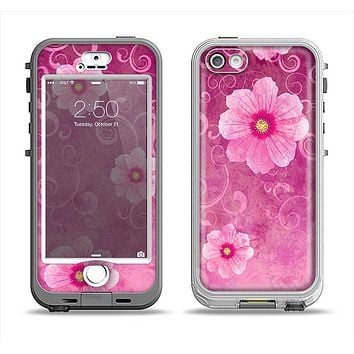 The Pink Vintage Flowers with Swirls Apple iPhone 5-5s LifeProof Nuud Case Skin Set