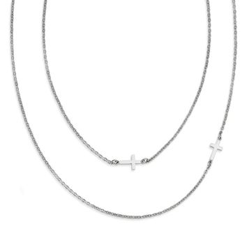 2 Layered Sideways Cross Necklace in Stainless Steel - Lobster Claw Cable Chain