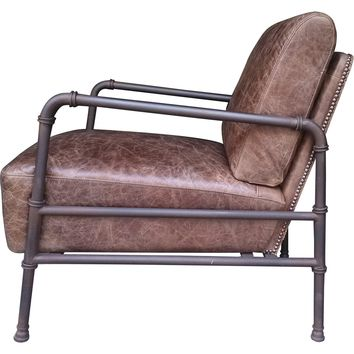 Livingston Club Chair Light Brown Distressed Top Grain Leather Metal Pipe Frame
