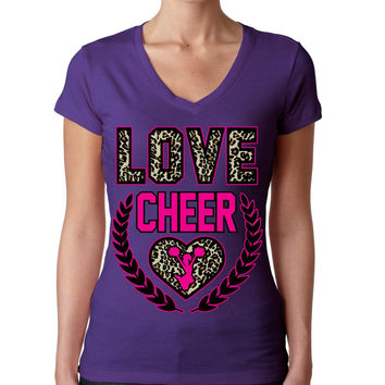 Love Cheer Leopard Womens Sporty V