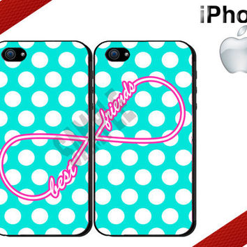 Best Friends iPhone Case - iPhone 4 Case or iPhone 5 Case - Infinity - Polka Dot iPhone Case - Two Case Set