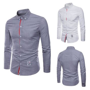 Men's Casual Long Sleeve Plus Size Turn-down Collar Button Shirt Top Blouse