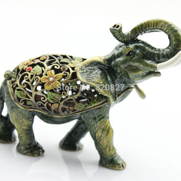 Pewter Antiqued Flowered Elephant Jewelry Trinket Box