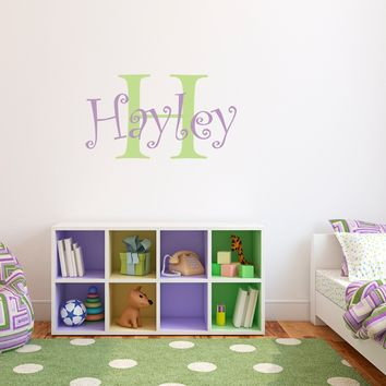 Girls Name Wall Decal with Initial - Personalized Name Decal - Girl Bedroom Decor - Medium