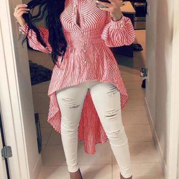 New Red-White Striped Irregular Single Breasted Peplum High-low Turndown Collar Casual Blouse