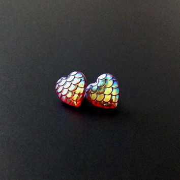 Mermaid Earrings, Heart Earrings, Mermaid Scales, Iridescent Earrings, Dragon Scales, 90s Jewelry, Mermaid Tail, Tumblr Jewelry, Pink Scales