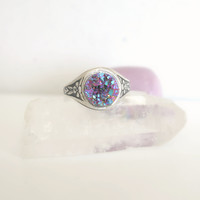 Boho Statement Ring - Purple - Druzy Ring - Glitzy