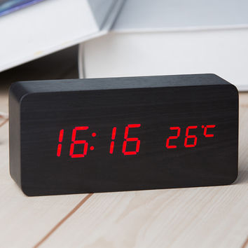 2016 Sound Control LED Wooden Alarm Clock Digital Time Temperature Week Calendar Display for Home