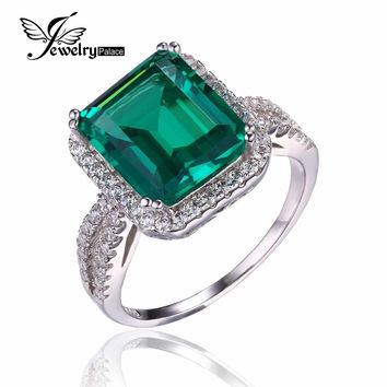 JewelryPalace Luxury 3.6ct Created Green Nano Russian Emerald Halo Engagement Ring 925 Sterling Silver 2016 New Fine Jewelry
