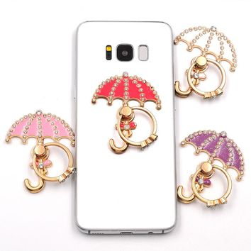 umbrella pattern diamond 360 Degree Finger Ring Buckle Stand Holder Pop For Mobile Phone Universal all Smartphone support