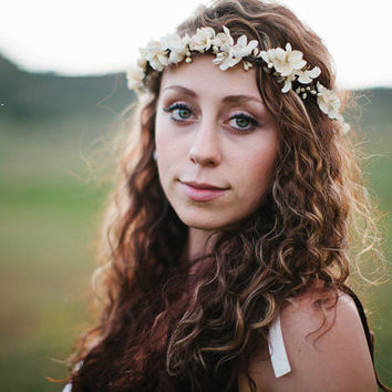 Ivory Floral Crown. flower crown, Bohemian, Hair Crown. Woodland Wedding. Fall, autumn, flower girl, Bridesmaids
