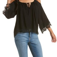 Black Lace-Trim Cold Shoulder Top by Charlotte Russe