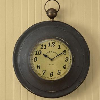 Vintage Iron Large Pocket Watch Wall Clock