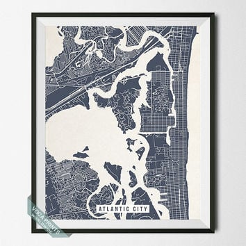 Atlantic City Print, New Jersey Poster, Atlantic City Street Map, New Jersey Print, NJ, AC, Office Decor, Bedroom Decor, Back To School