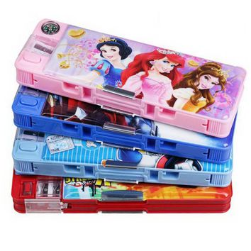 220704/Childhood Stationery Pupils Multifunctional Plastic Pencil Box Kindergarten Princess Cute Girl Boy
