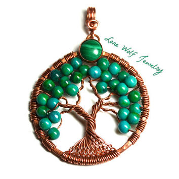 Tree of Life Pendant Copper Azurite Chrysocolla Bezel Set Malachite Twisted Wire Wrapped Metaphysical Tree Necklace Yggdrasil Celtic Tree