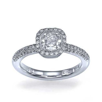 Platinum Halo Snowflake Cushion Cut Engagement Ring Pre-Set with 1ct Diamond