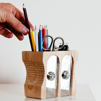 Cute Wooden Pencil Cup - Rustic Pencil Holder - Office Supplies - Pencil Holder - Office Decor - Desk Organizer